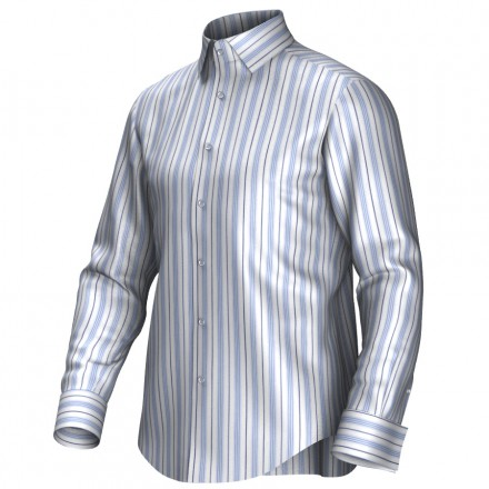 Maatoverhemd wit/blauw 55309