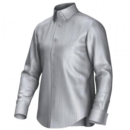 Maatoverhemd wit/grijs 54377