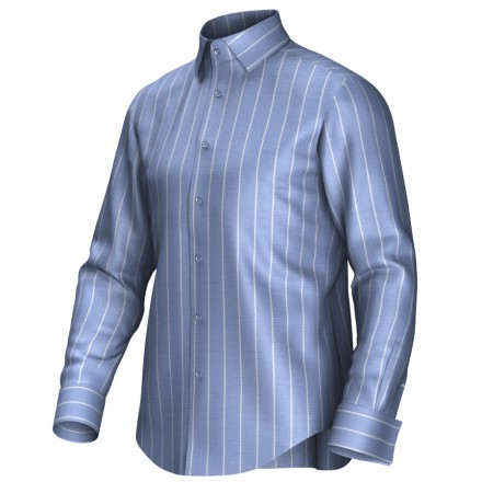 Maatoverhemd blauw/wit 54015