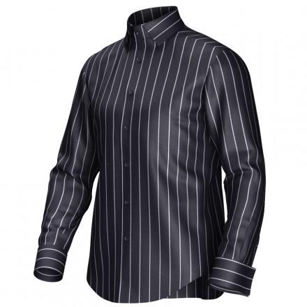 Overhemd Zwart Wit.Gestreept Overhemd Op Maat In De Kleur Zwart Wit Van 100 Katoen