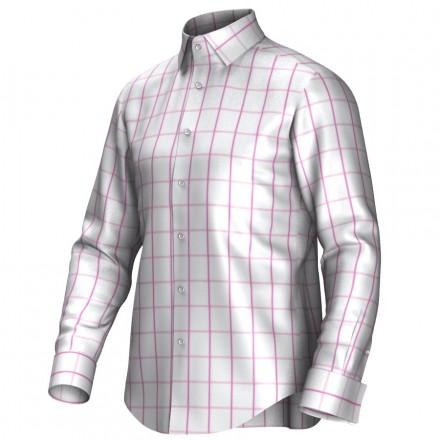 Maatoverhemd wit/roze 53244