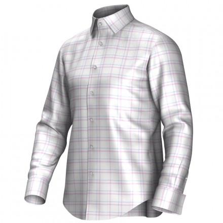 Maatoverhemd wit/roze/blauw 53310
