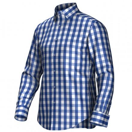 Geblokt Overhemd.Geruit Overhemd Op Maat In De Kleur Blauw Wit Van 100 Katoen